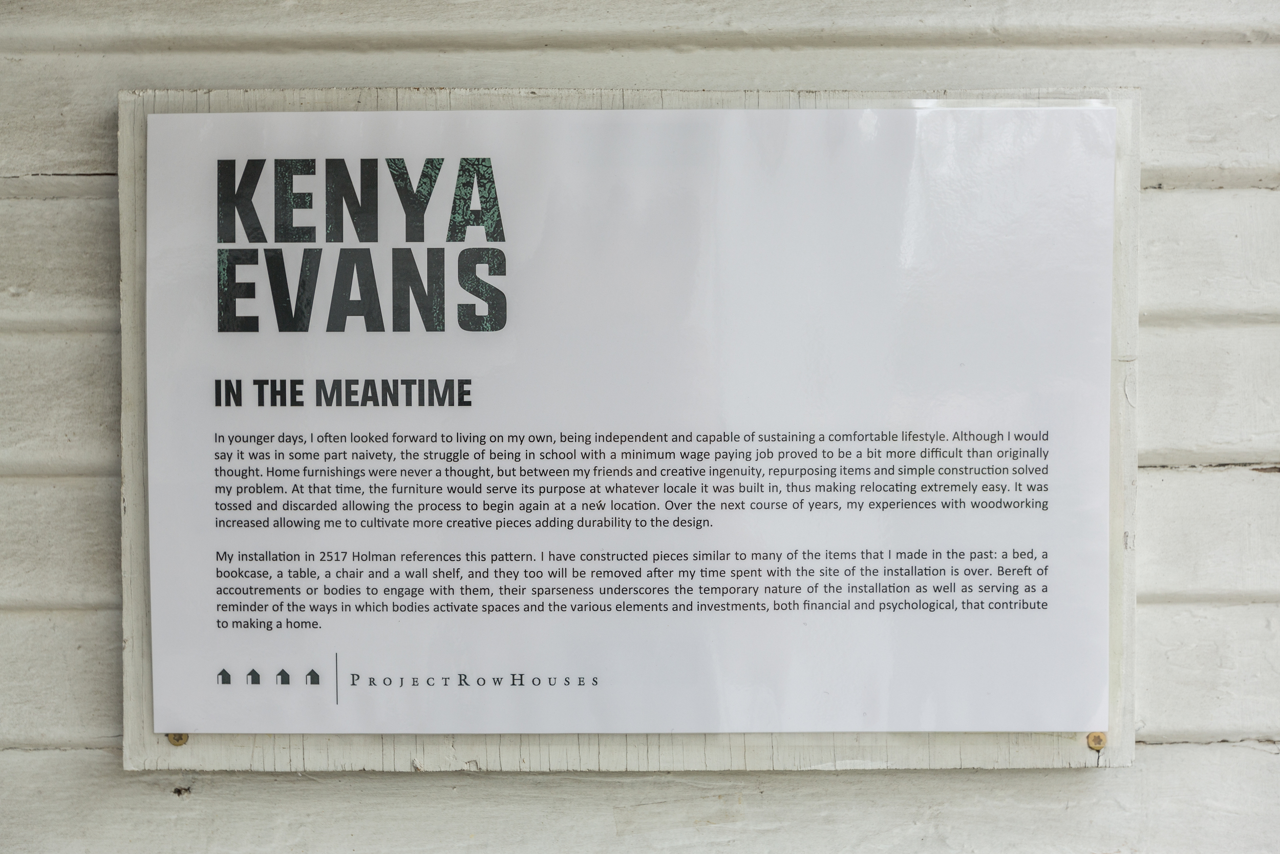 Kenya Evans, In the Meantime