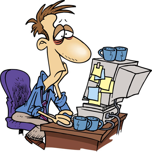 A man tired and burnt out at his desk. He needs some rhodiola.