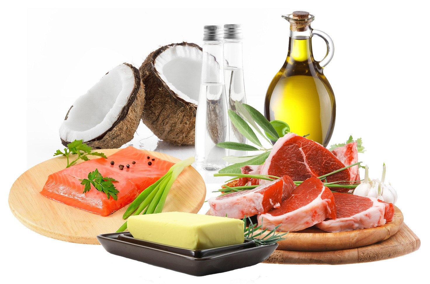 Picture of foods commonly part of a ketogenic diet, including salmon, red meat, coconut oil, olive oil and butter. A ketogenic diet and ketones have been shown to increase BDNF levels.