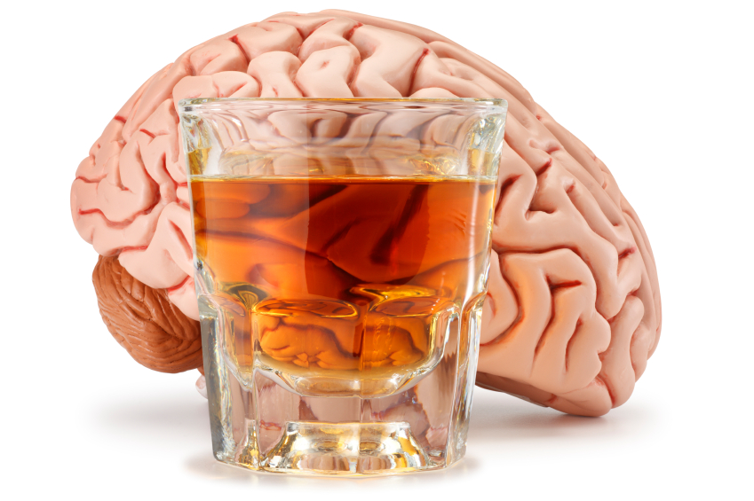 Picture of alcohol in front of brain.