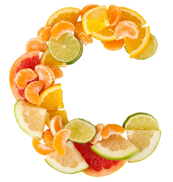 Citrus fruits in the shape of a C. Vitamin C protects the brain from alcohol.
