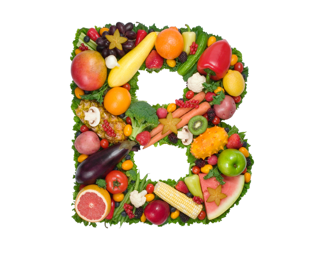 Fruits and vegetables in the shape of the letter B. B vitamins can help reduce brain fog.