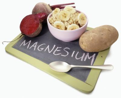 Magnesium on a chalkboard and magnesium rich foods, including banana, potato and beet. Magnesium is depleted by psychiatric drugs.