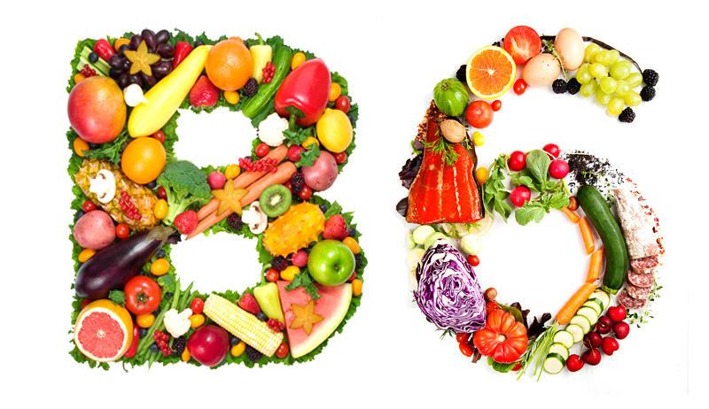 Fruits and vegetables displayed to show the letter B and the number 6. Vitamin B6 is depleted by psychiatric drugs.