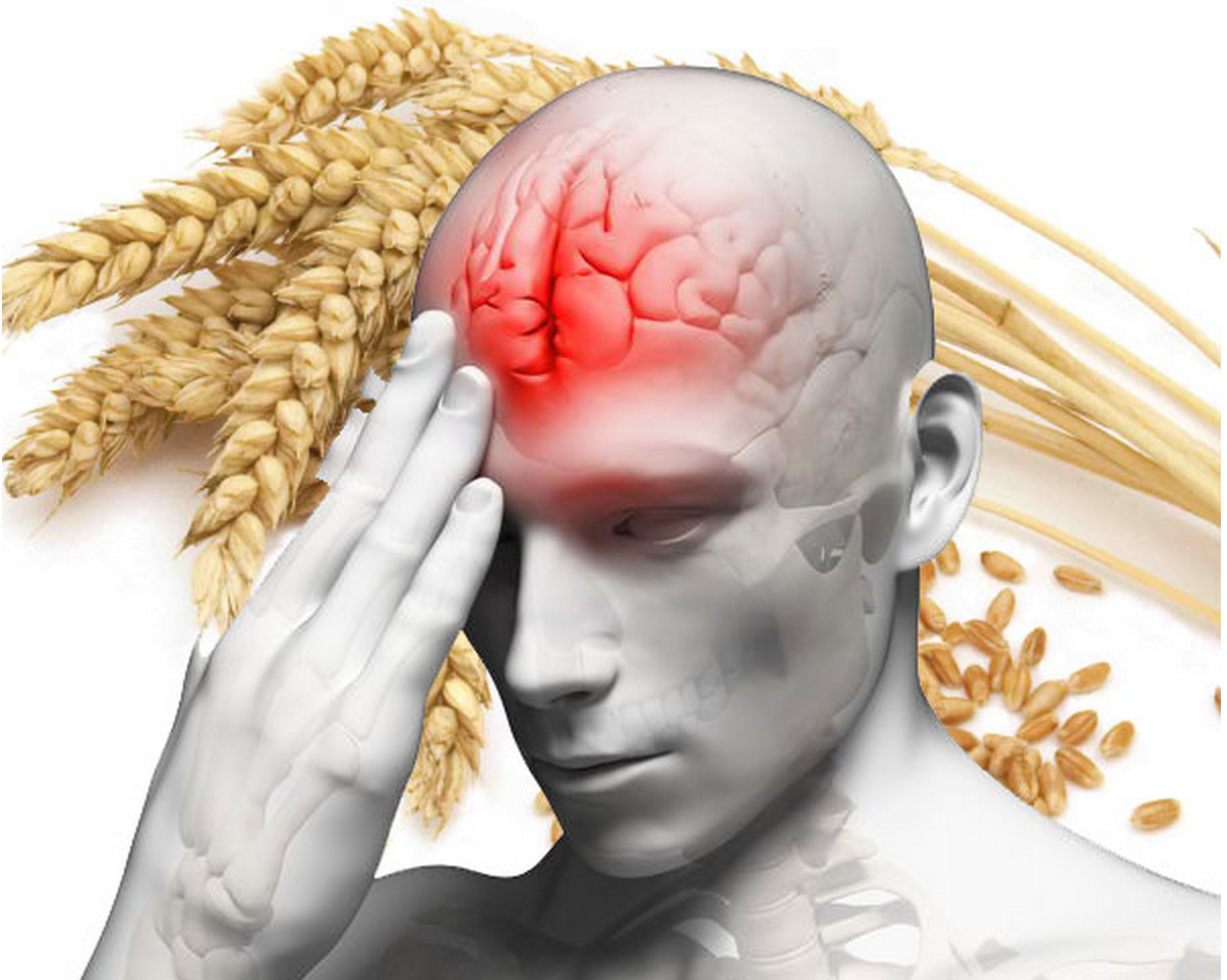 Man with headache and inflammation in the brain because of gluten.