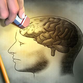 A person erasing the prefrontal cortex of the brain.