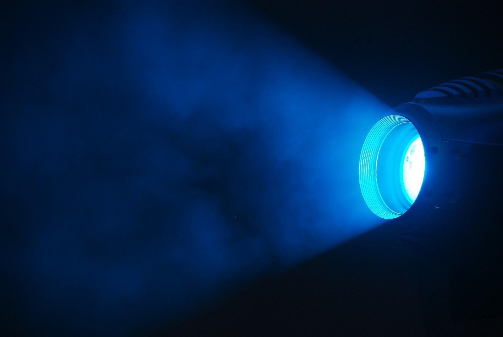 A lamp emitting blue light.