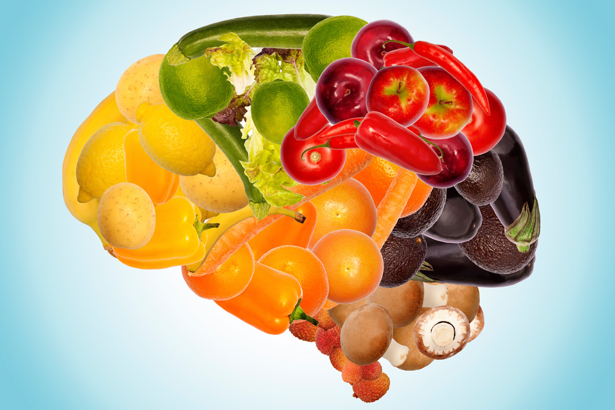 Fruits and vegetables in the shape of a brain.