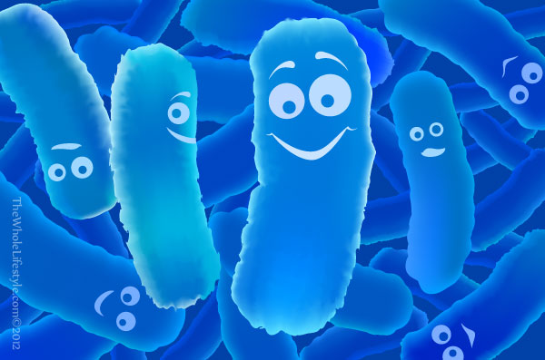 Cartoon illustration of bacteria.