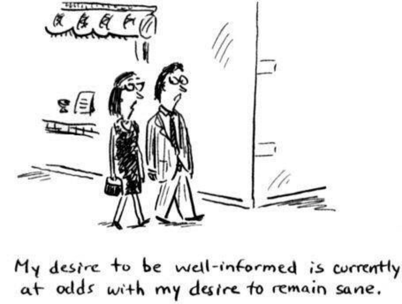 "Funny comic strip: ""My desire to be well-informed is currently at odds with my desire to remain sane."""