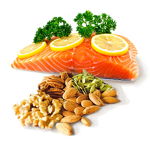 Picture of salmon and walnuts. Salmon and walnuts and rich in omega-3 fatty acids, which have been shown to form new brain synapses.