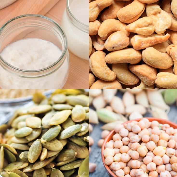 An image of zinc-rich foods, including pumpkin seeds of cashews. Zinc is one mineral that can help fight depression. Many people with depression often have low levels of zinc.