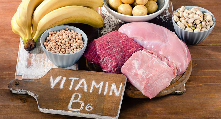 A bunch of foods rich in Vitamin B6, including chicken, beef, bananas and potatoes. Vitamin B6 is one nutrient that can help you overcome depression.