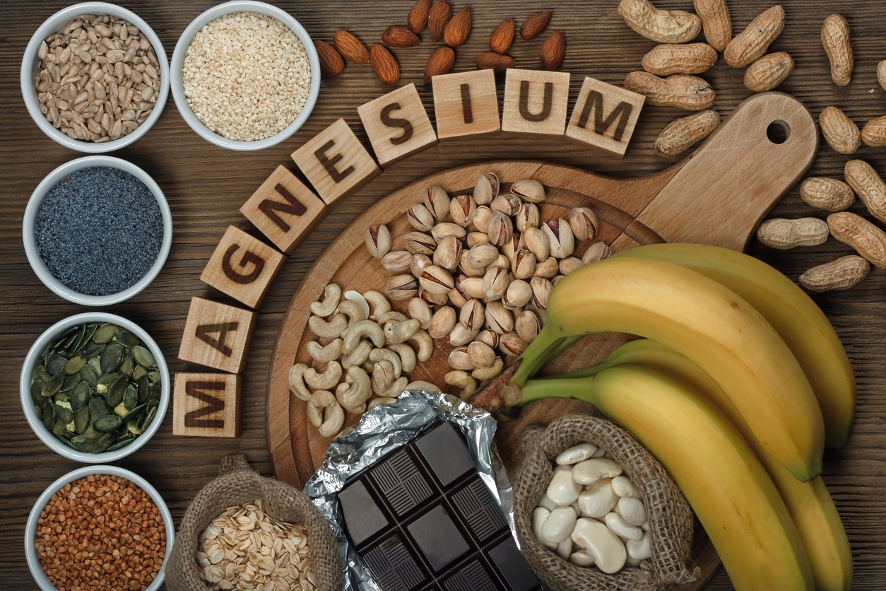 A bunch of magnesium-rich foods, including nuts, seeds, bananas. Magnesium supplementation can help reduce anxiety and stress.
