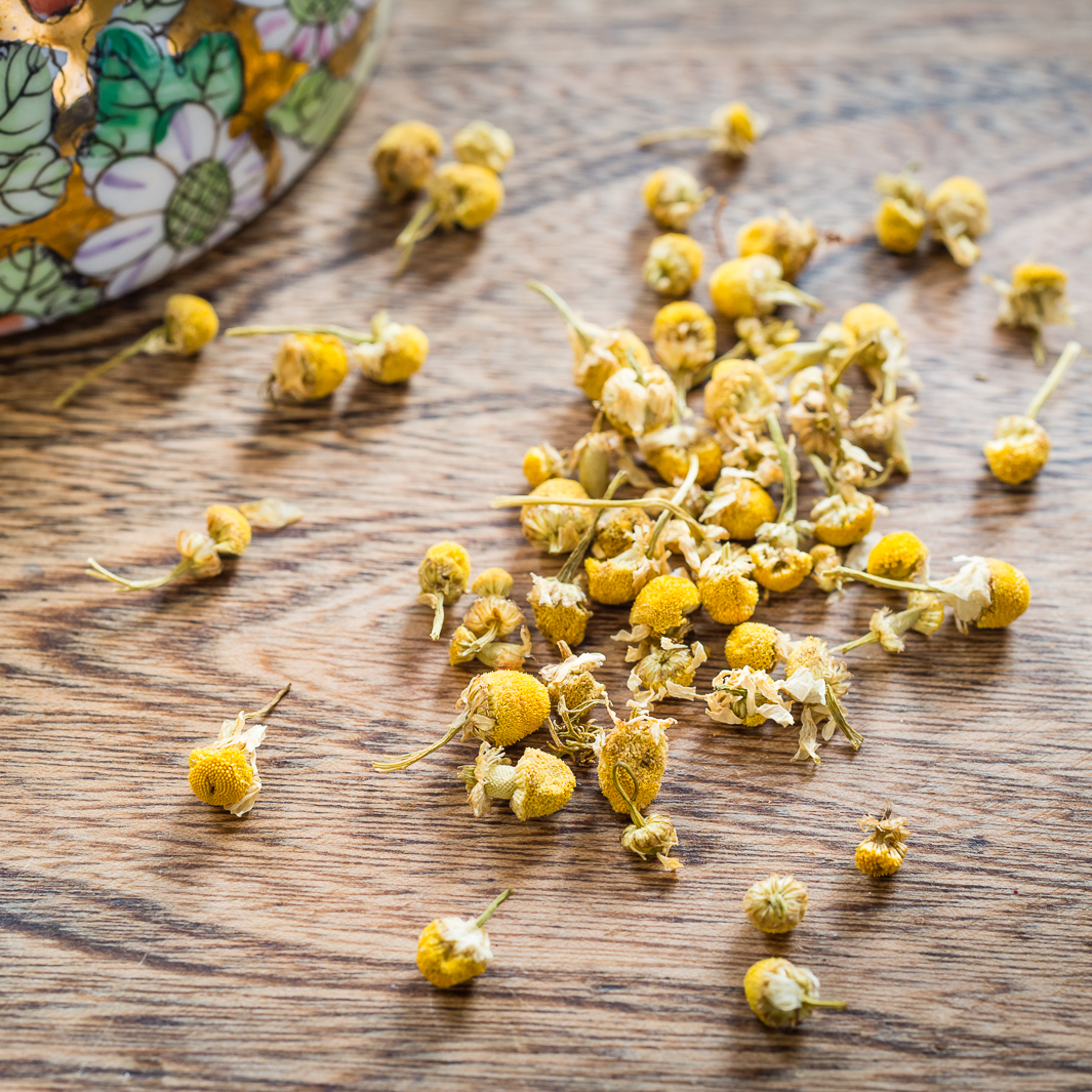 Chamomile plant. Chamomile has been shown to reduce stress and anxiety.