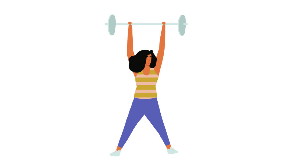 A cartoon woman lifting weights over her head. Exercise powerfully increases IGF-1 levels.
