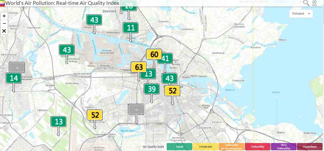 Air Quality Index Map in Amsterdam.