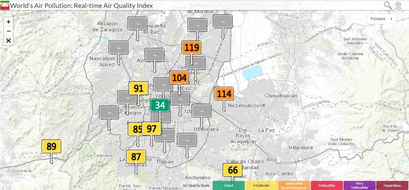 Air Quality Index Map in Mexico City.
