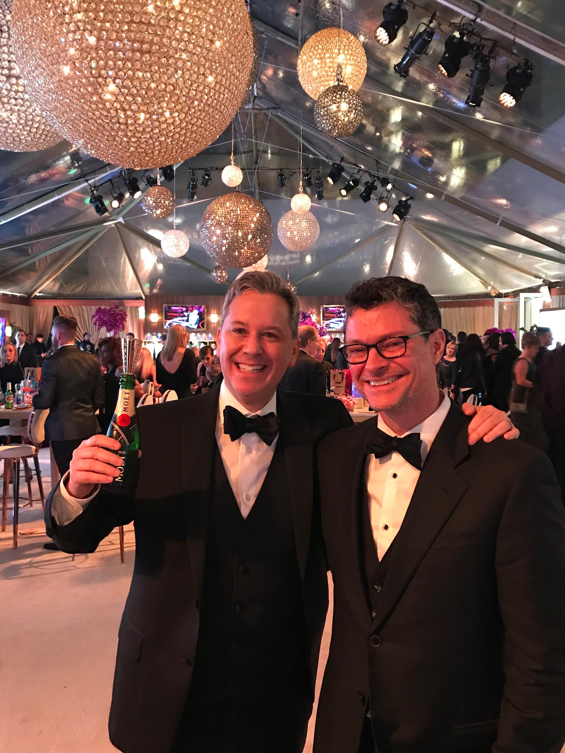 With husband Trent Farr at a 2018 Golden Globes gala.
