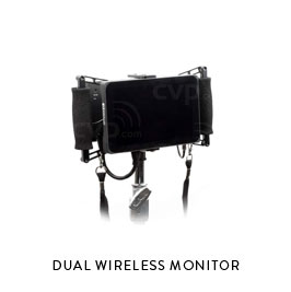 DUAL WIRELESS MONITOR  Swaps between monitoring two cameras at once SmallHD 7in OLED handheld monitor (2) Paralinx Ace wireless units (2) Gold Mount batteries and charger Wooden Camera cage