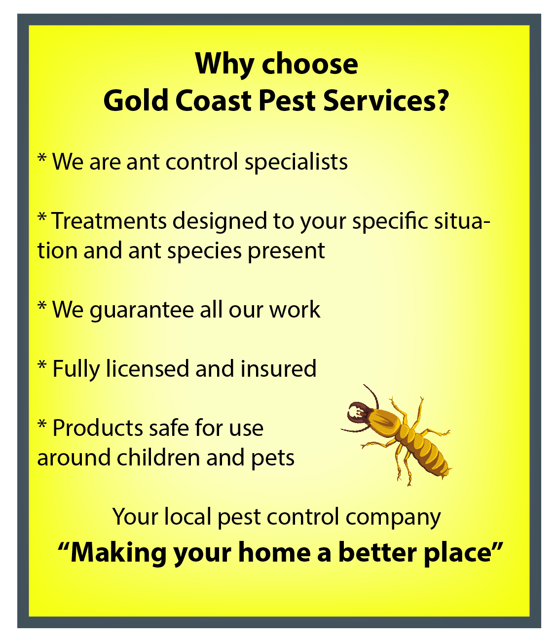 Ant control why choose Gold Coast Pest Services