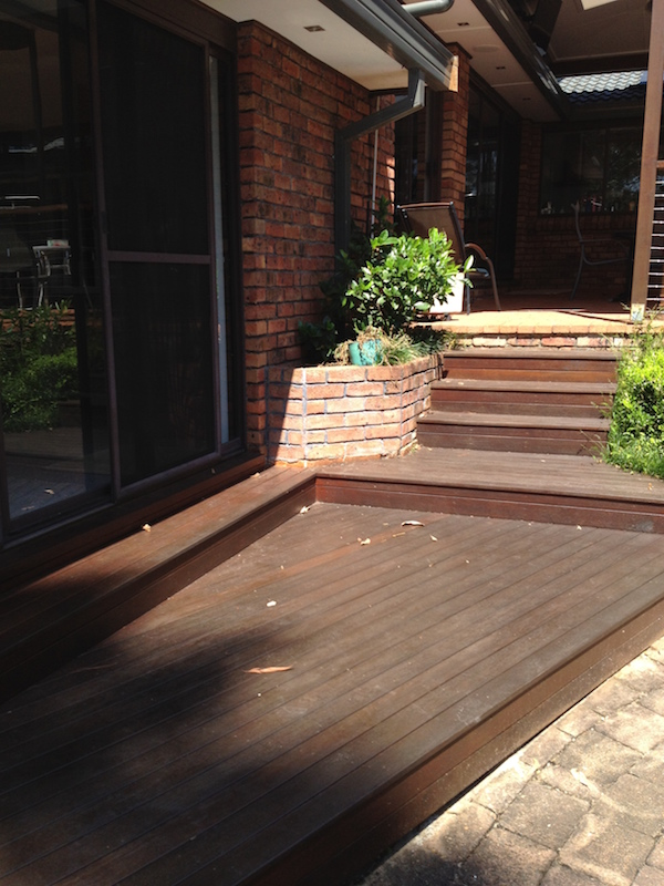 With no gap between the deck and the building and noway to see under the deck, it's easy for termites to get into the house without being noticed!