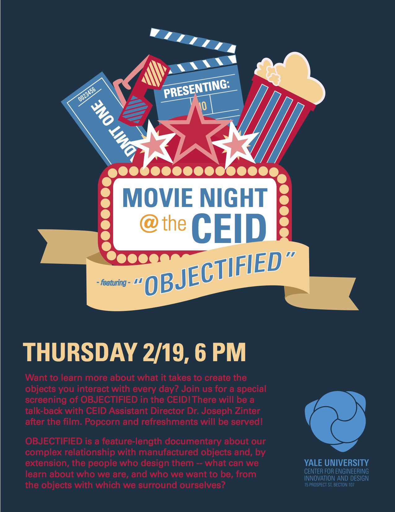 "Want to learn more about what it takes to create the objects you interact with every day? Join us for a special screening of Objectified in the CEID! There will be a talk-back with CEID Assistant Director Dr. Joseph Zinter after the film. Popcorn and refreshments will be served!  About the movie: ""Objectified is a feature-length documentary about our complex relationship with manufactured objects and, by extension, the people who design them -- what can we learn about who we are, and who we want to be, from the objects with which we surround ourselves?"""