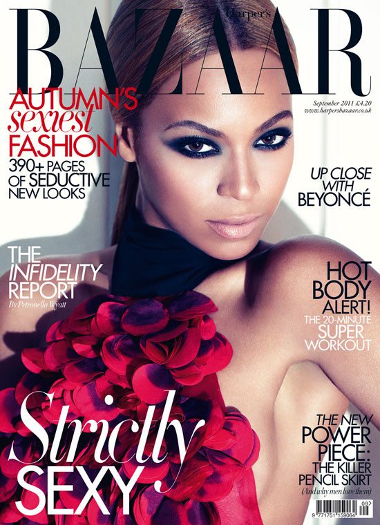 Beyoncé on the September issue of Harpaars Bazaar UK. Hair by Neal Farinah.