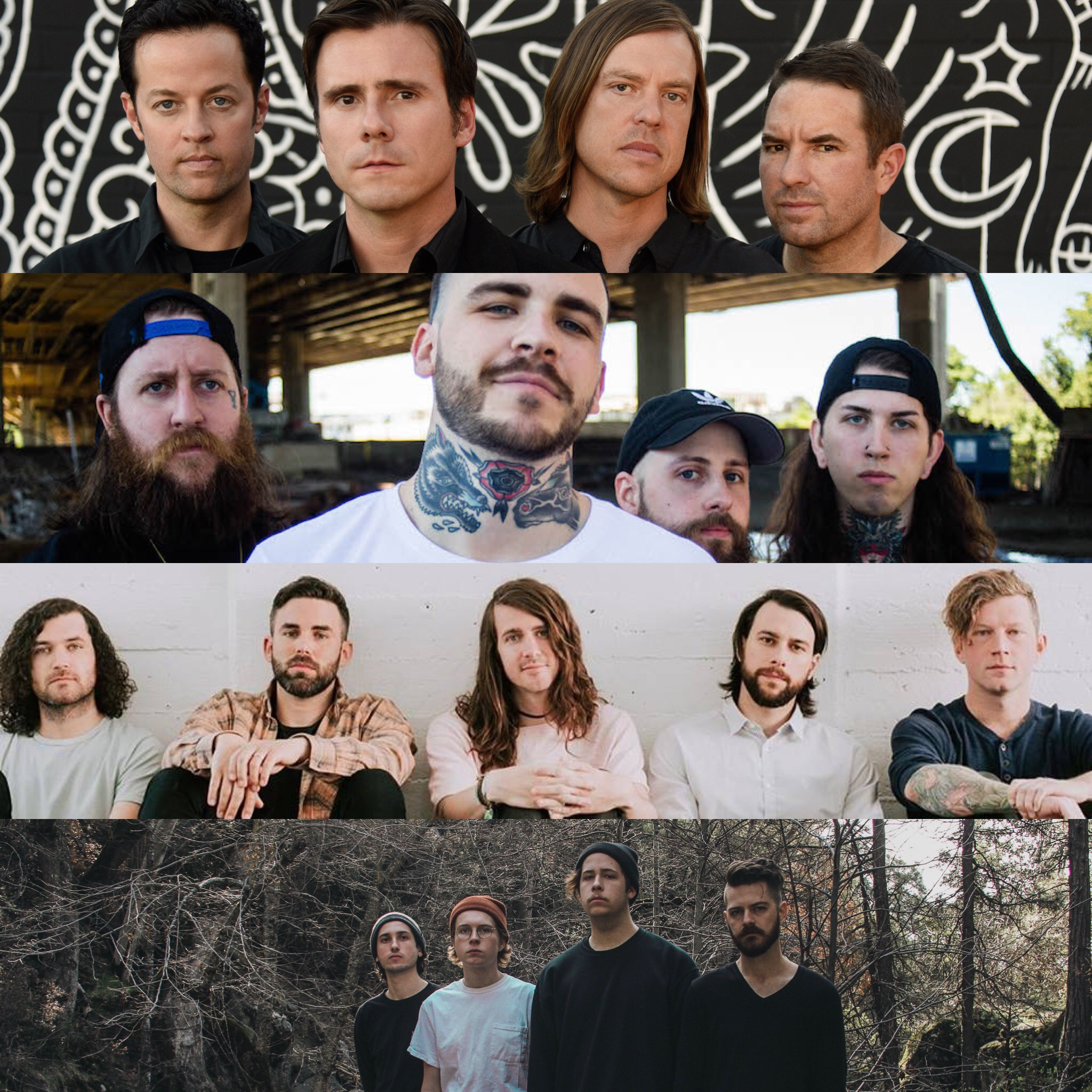 FROM TOP TO BOTTOM: JIMMY EAT WORLD, GREAT AMERICAN GHOST, MAYDAY PARADE, ANDY'S ROOM