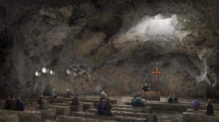 Ebenezer Chapel interior, 80 feet below ground - architect's rendering