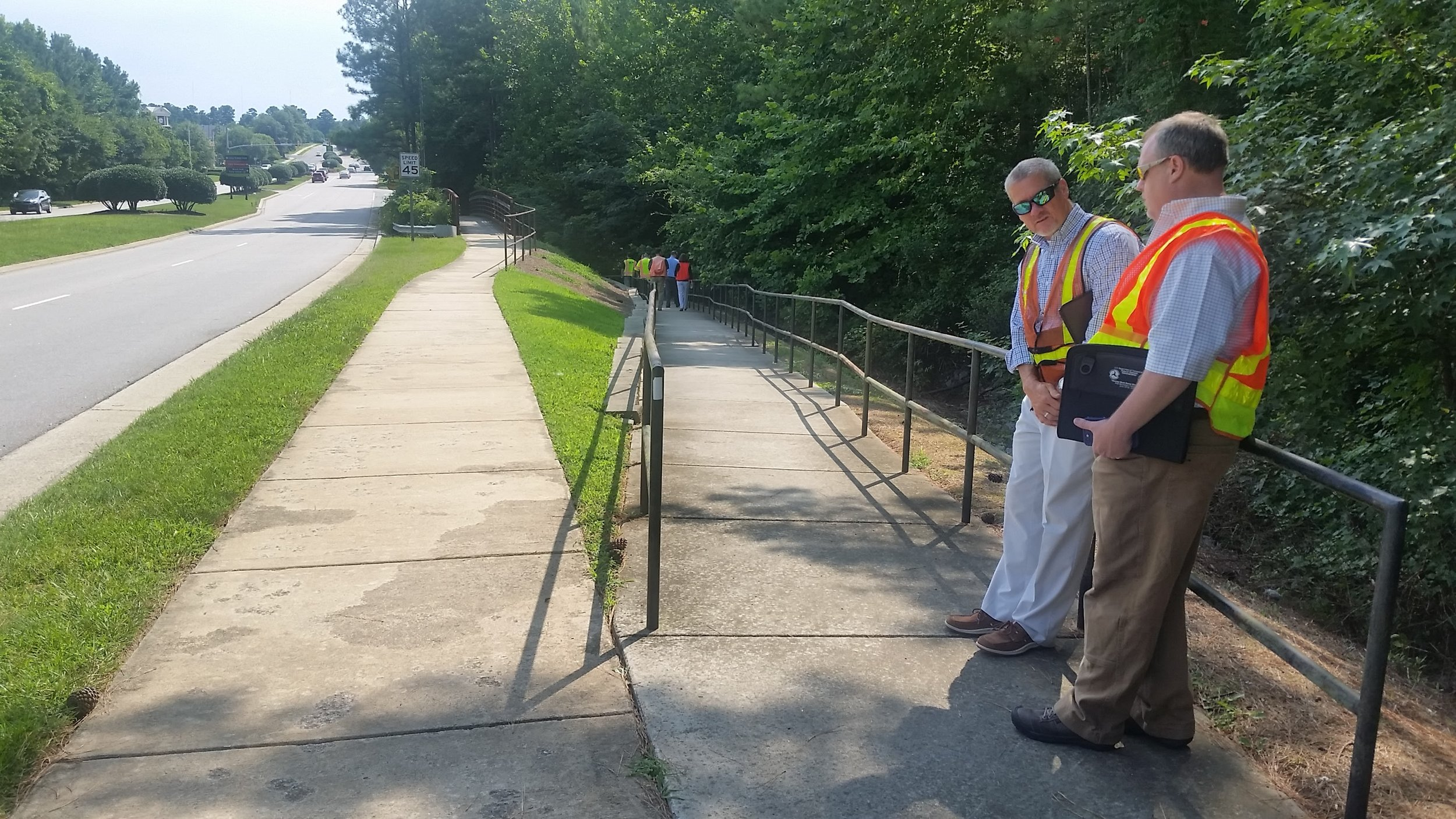 A&O Project Manager Glenn Zeblo, PE, discusses project needs with Cary Town Engineer Robert Shultes.