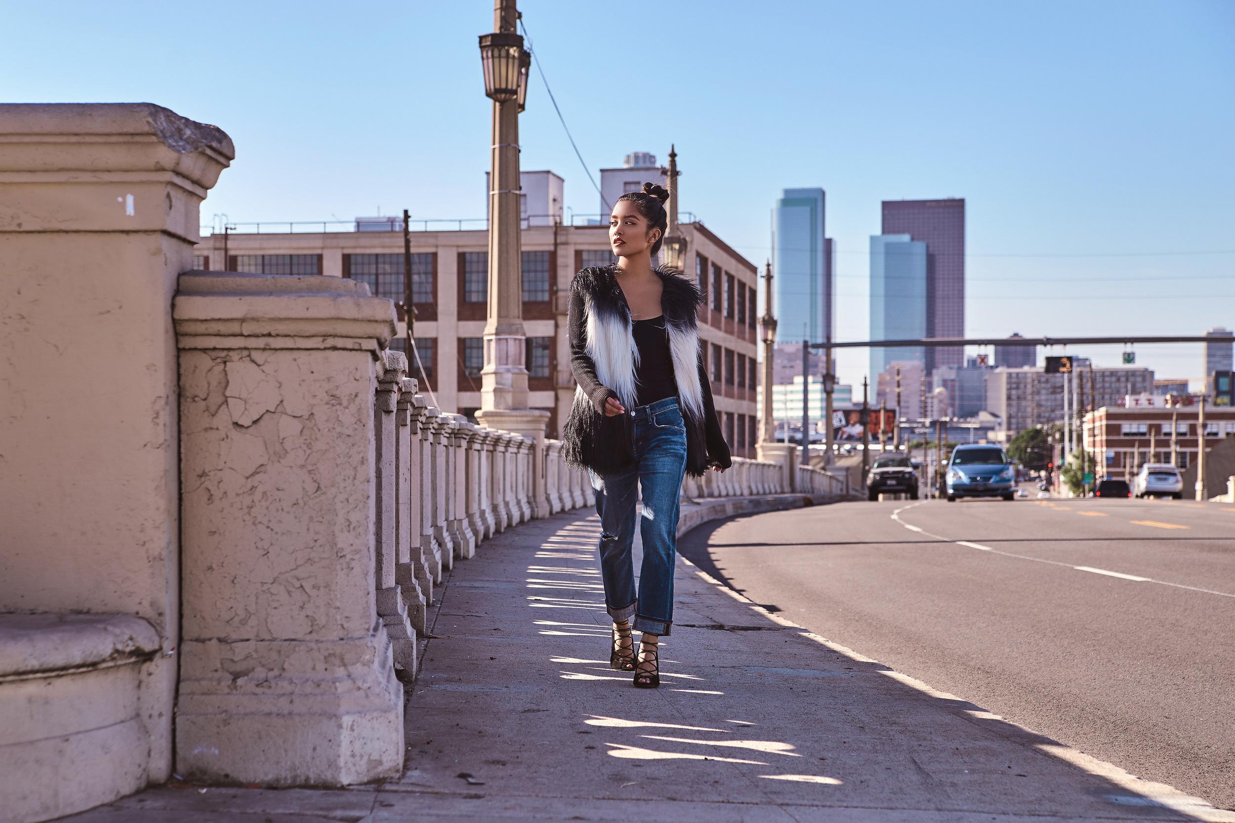 FP body suit   |   A Gold E jeans   |   RAYE heels   |   design history jacket   |   mac lipstick   |    photos by sean martin