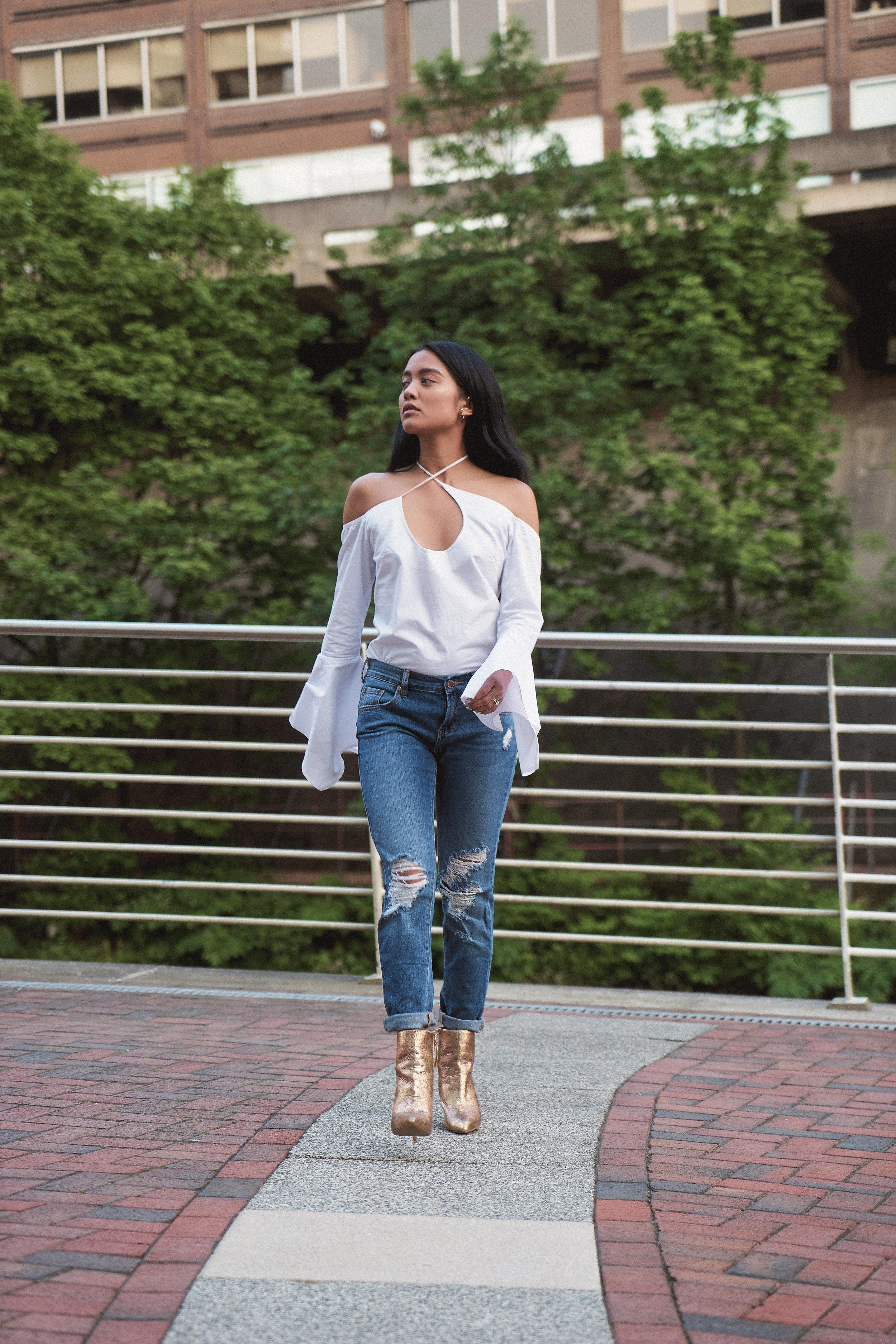 maurie & eve top  |  pacsun jeans  | zara booties |  love AJ earrings |  TT ring  |   photos by sean martin
