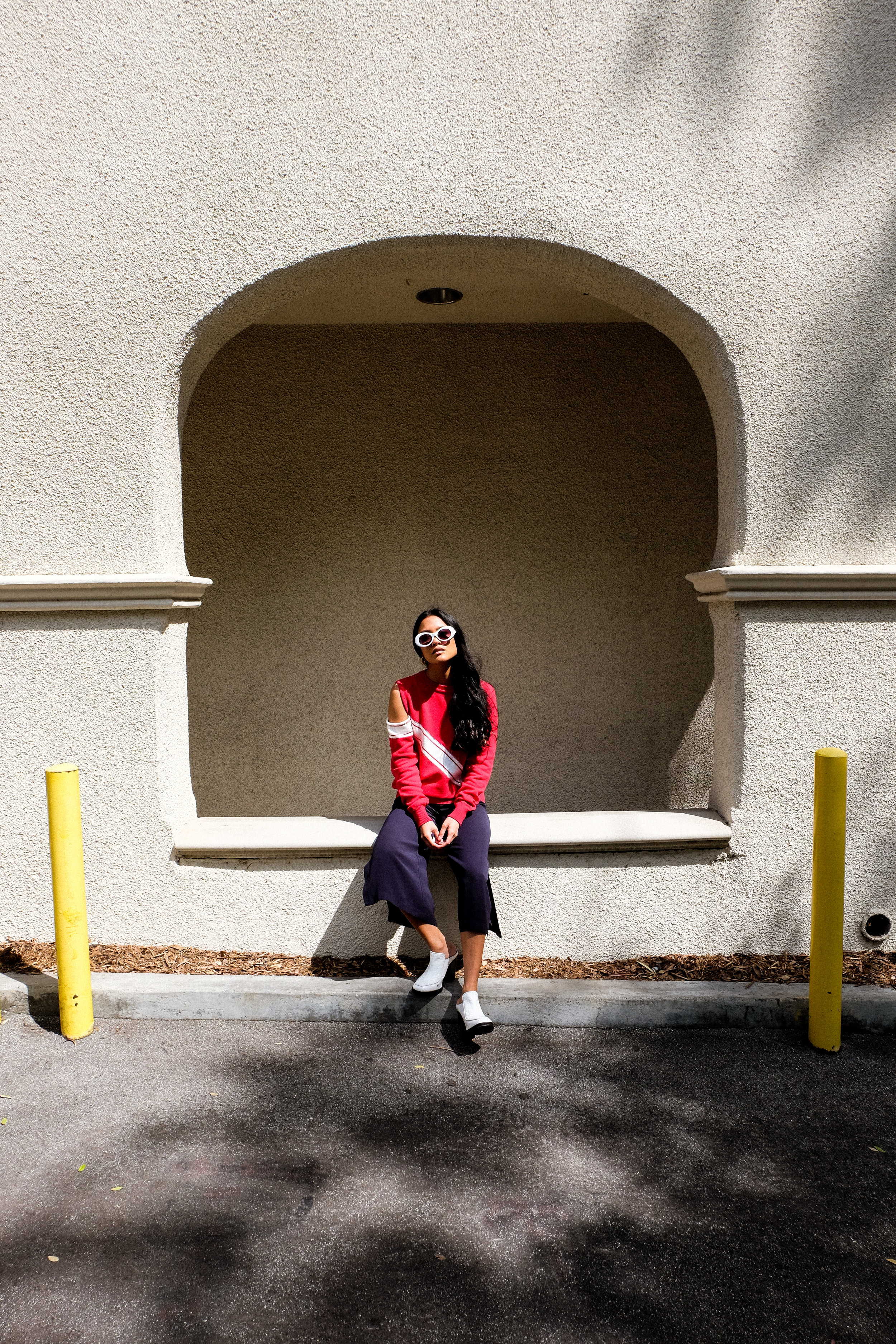 maurie & eve jumper  |  zerouv shades  | zara trousers | topshop shoes |  photos shot by michael alvarado