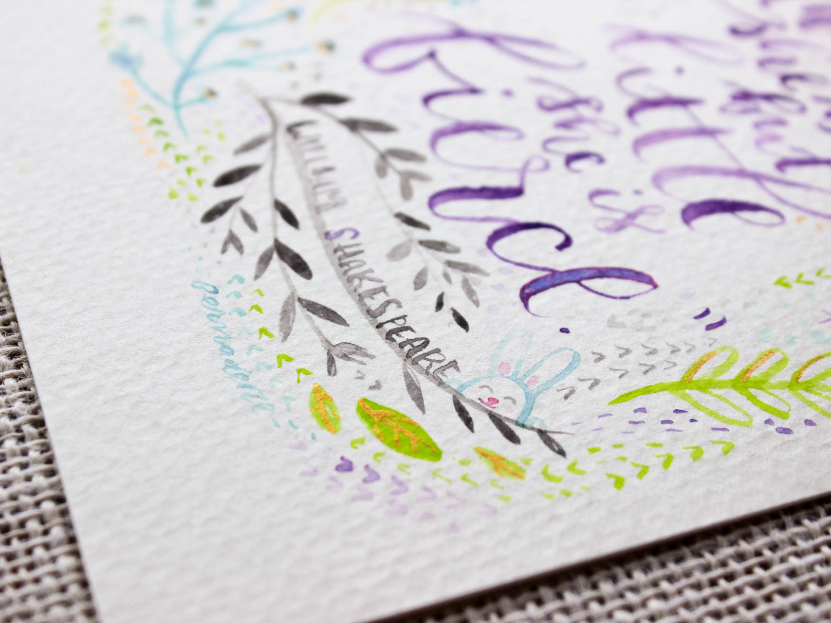 calligraphy bunny illustration