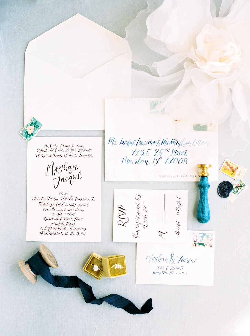 new orleans inspired hand lettered invitation