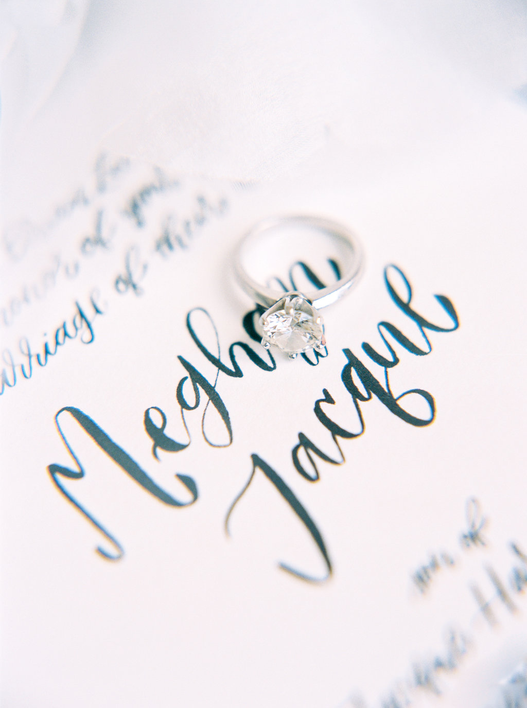 detail of hand lettered names on invitation
