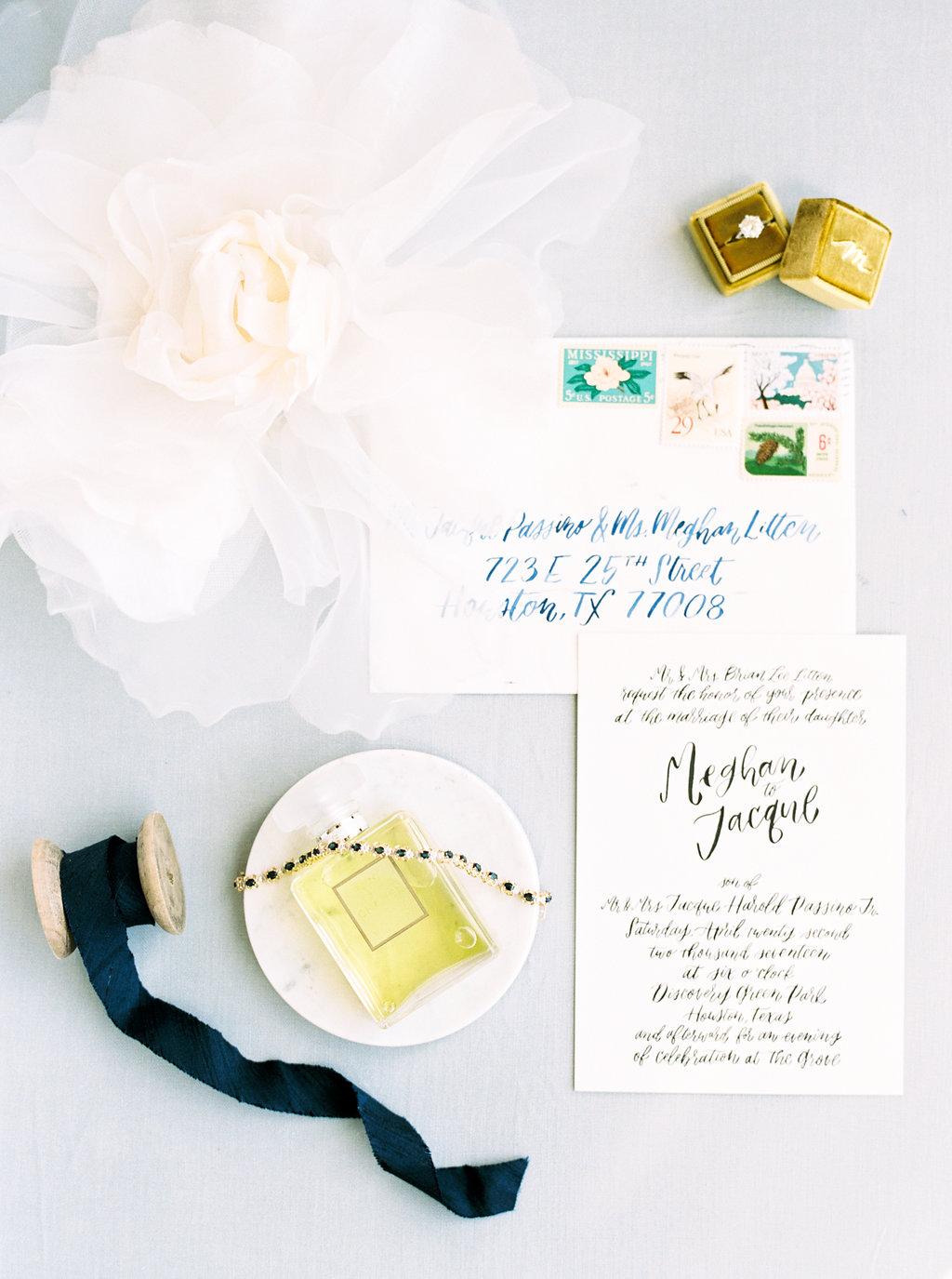 flat lay of invitation calligraphy