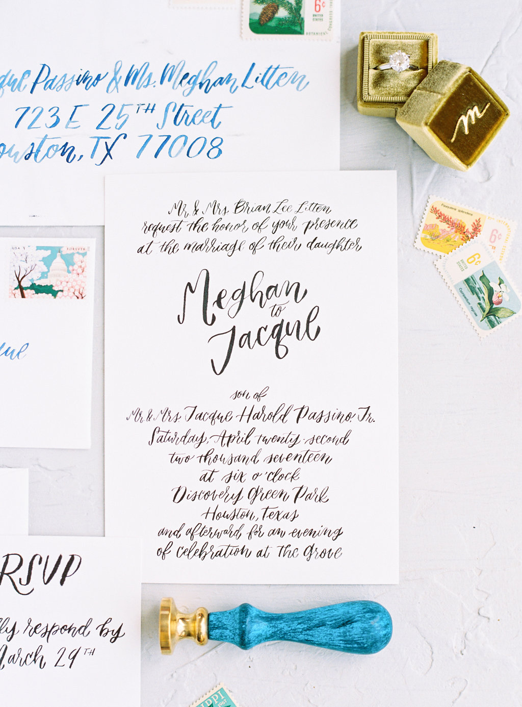 wedding invitation calligraphy for meghan and jacque