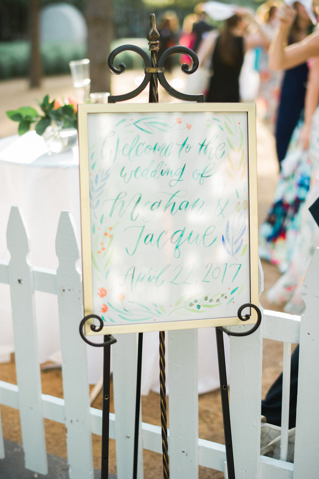 welcome sign at the wedding of meghan and jacque in discovery green