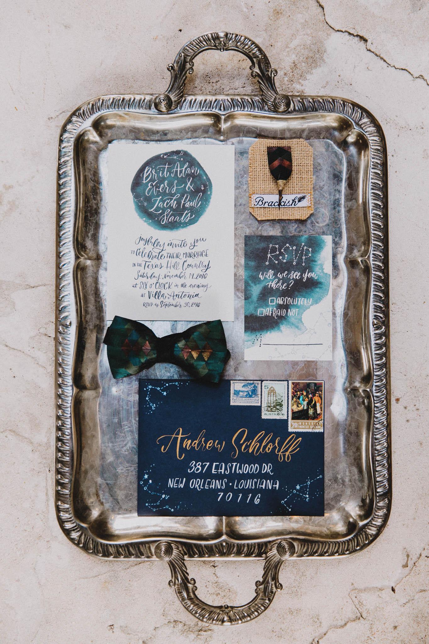 celestial watercolor invitation suite for love wins texas weddings magazine