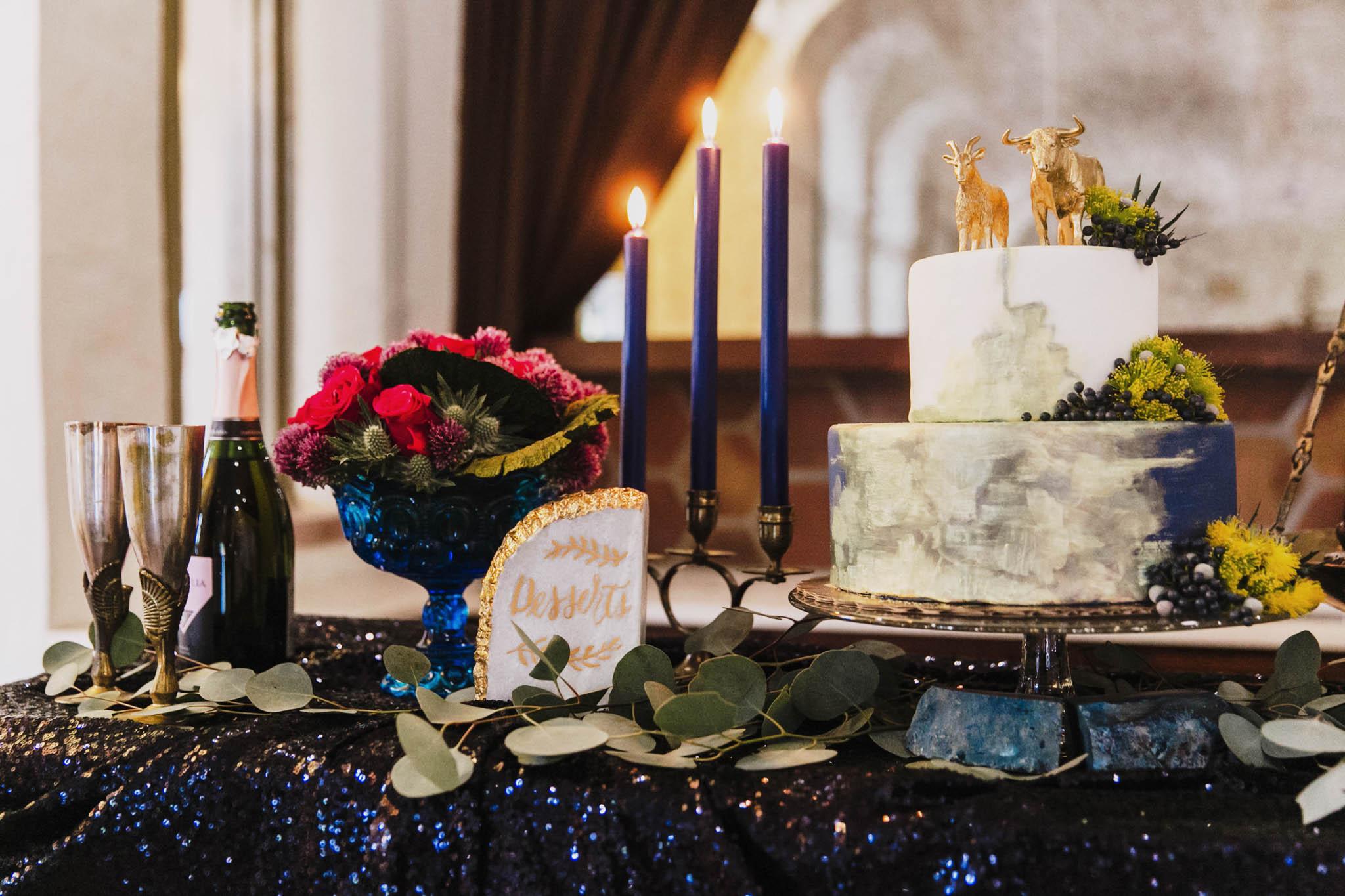 moody tablescape for a wedding at villa antonia
