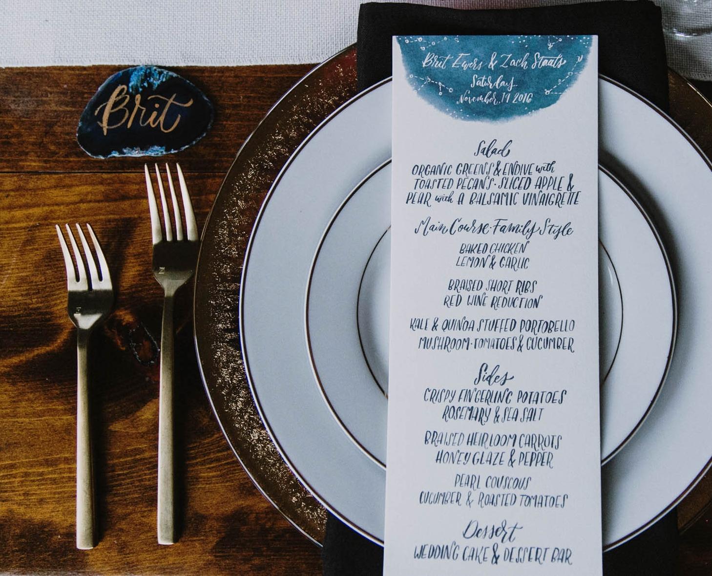 hand lettered celestial menu