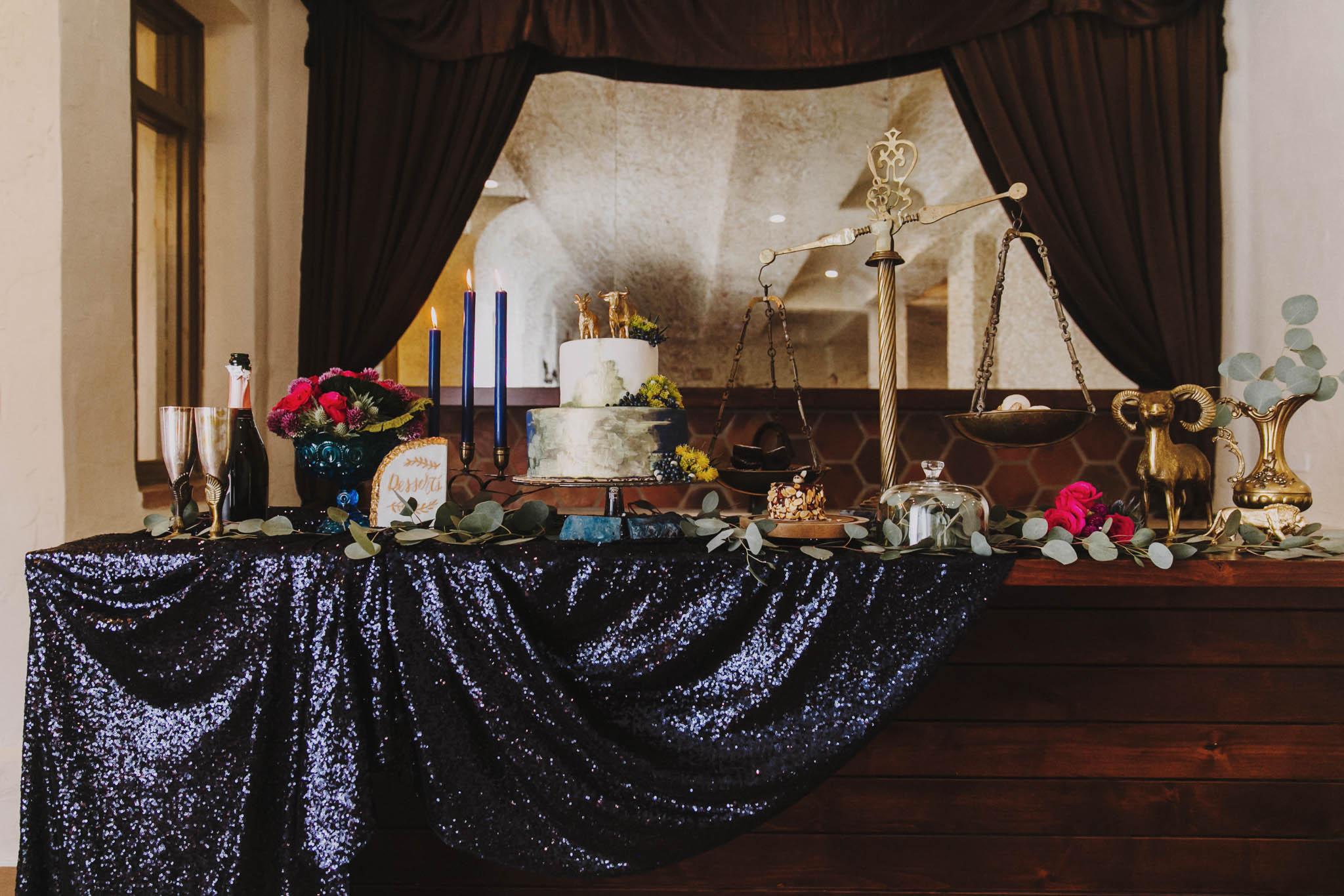 celestial zodiac themed wedding table