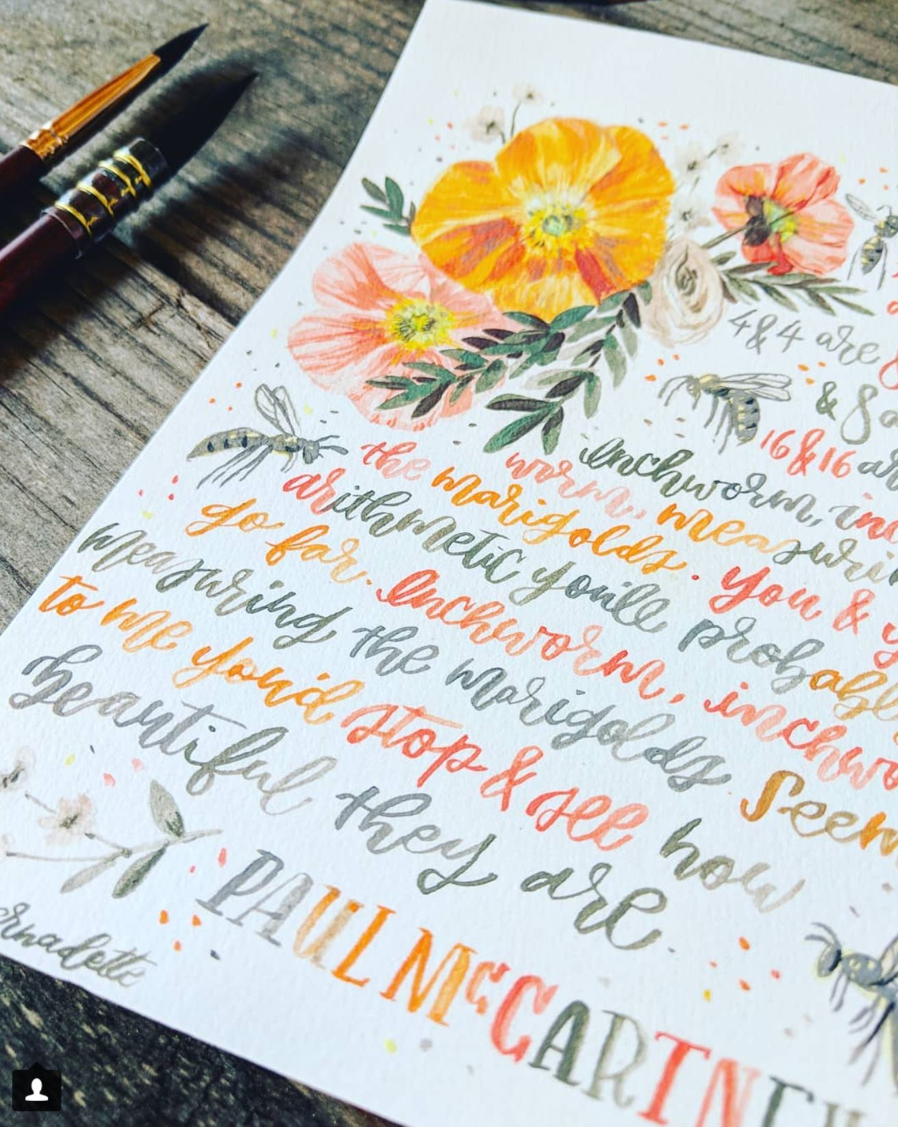 song lyric illustration in watercolor