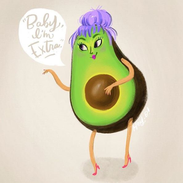 Avocado Digital Illustration by Hey Bernadette