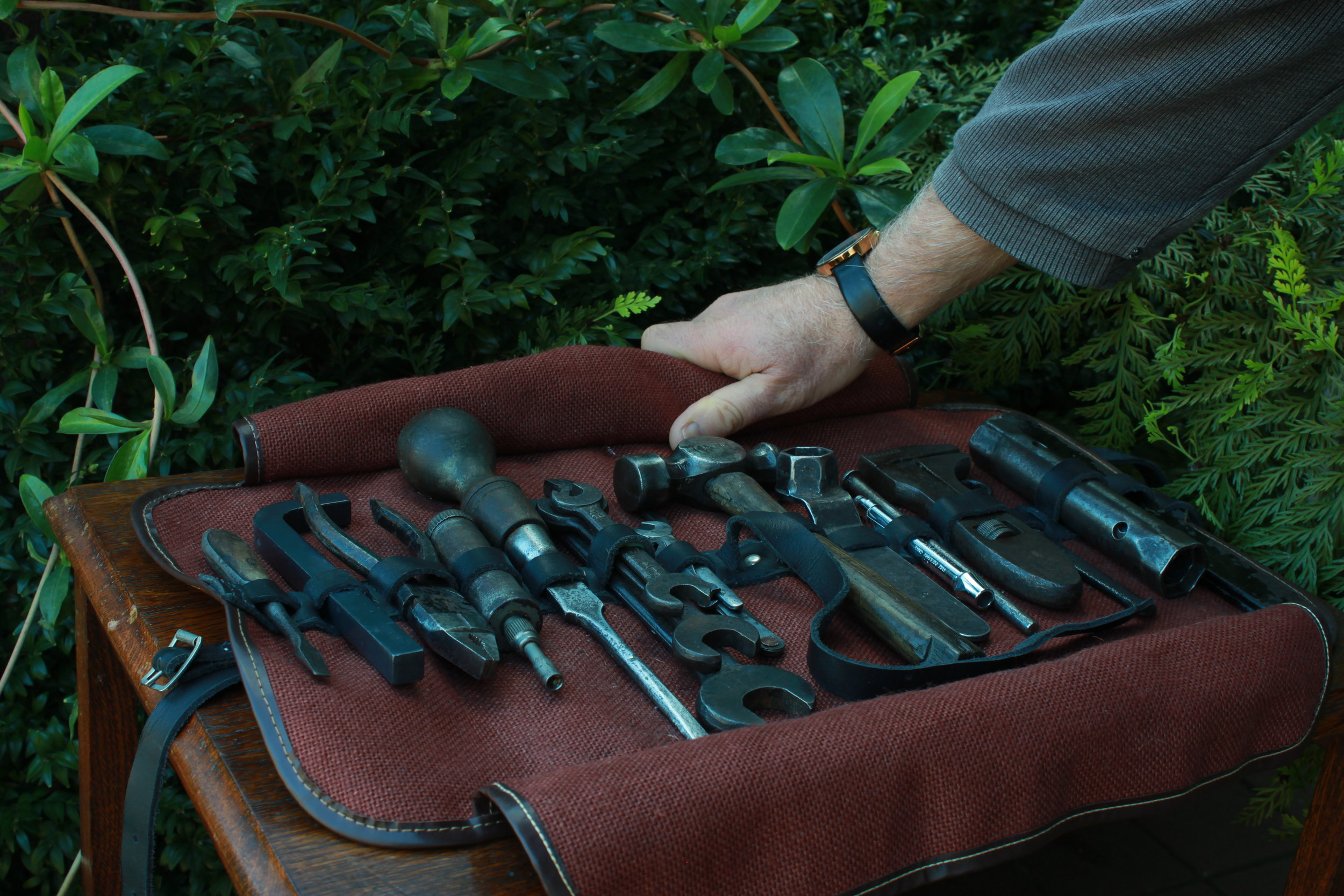 PRE-WAR MG TOOL KIT AND ROLL   Tool kit for concours car show  Late model MMM MG tool kit  Cleaned and serviced original tools  Laser cut and hand finished sump plug spanner  Procured tool roll (Collingburn UK)