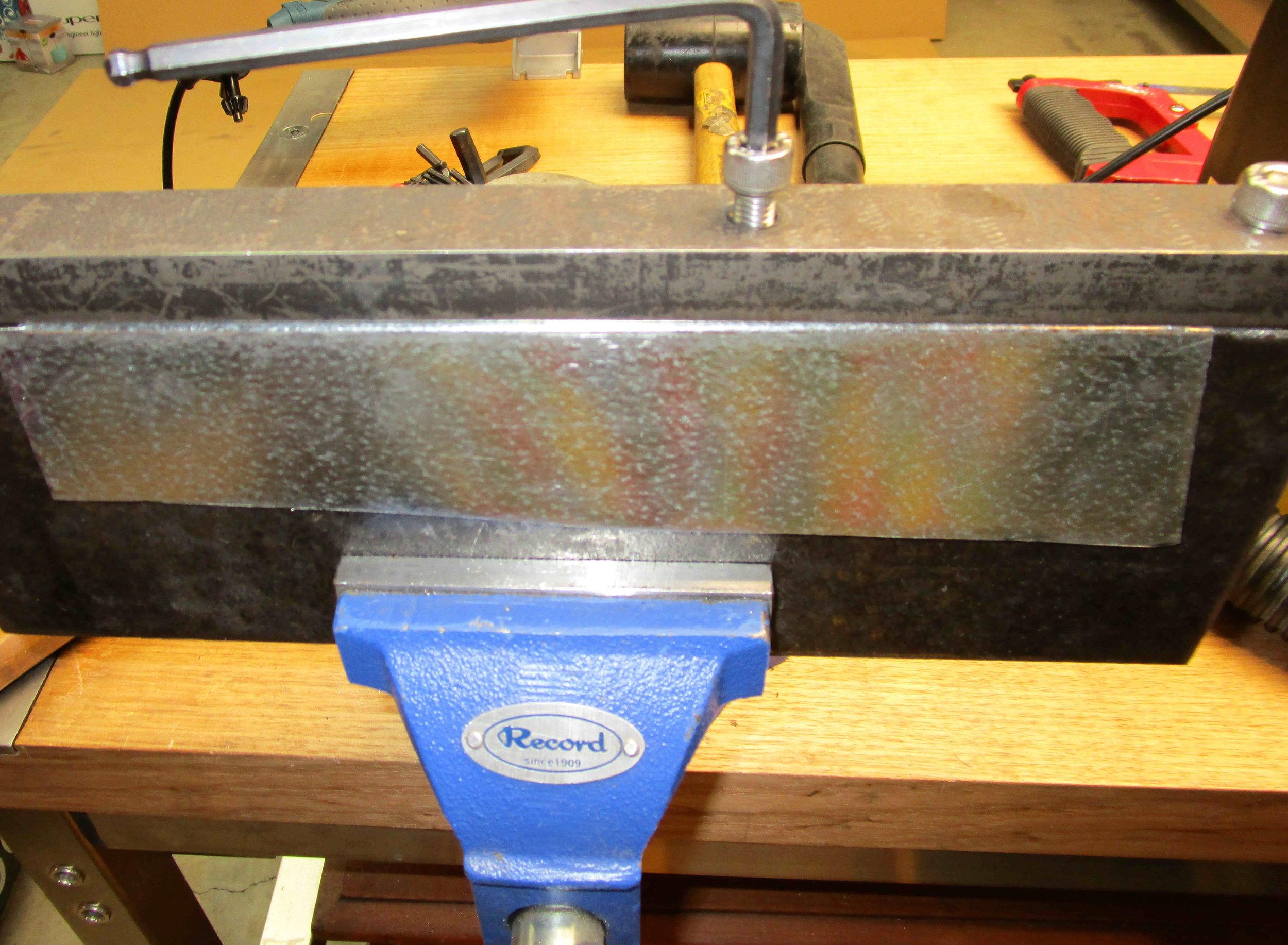Folding box body, hand fold then panel hammer. Holes already drilled.