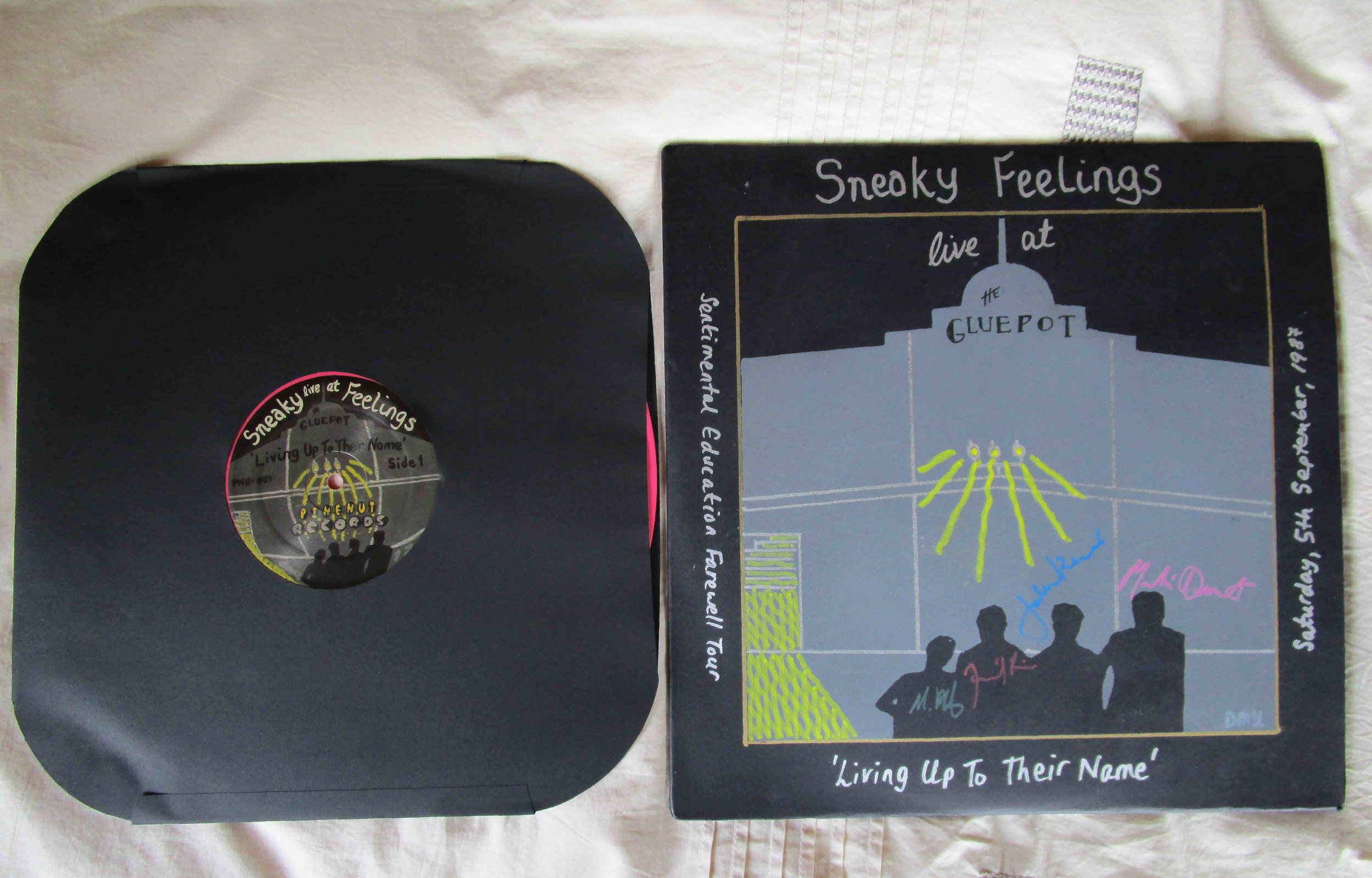 Sneaky Feelings LP 'Living Up To Their Name' Live At The Gluepot 1987 Collectors' and Limited Editions 180gsm Pink Vinyl    Pressed by United Record Pressing Nashville, TN, USA. One-off pressing of 300    Hand screen printed covers - heavy gauge solid black card flipback cover on collector's and limited editions, hand screen printed on standard white cover on Record Store Day Edition    Tape transfer and digital mastering by Steve McGough at Stebbing Recording Centre, Auckland, New Zealand    Launch date Monday 20th November, 2017    50 numbered copies on PInenut Records' first issue PNR-001, 16 of the 50 copies signed by the whole band    Plus a limited edition with various colour covers, with HD digital WAV download of full album, album format Side A/Side B    **************************************************************************************************************************************************************    Record Store Day 2018 'Black Sheep-White Sheep' edition LP 180g Pink Vinyl 150 copies made, with 6 bonus tracks on Bandcamp download, and a sew on tour patch issued at selected record shops across New Zealand and at Amoeba Music in LA and San Fran, California USD 40.00 plus P&P ** 10 left as of 09.05.19    *************************************************************************************************************************************************************    Record Store Day 2018 'Black Sheep-White Sheep' edition Cdr, with HD-WAV download card for the whole album, and sew on tour patch USD 20.00 plus P&P    ** SOLD OUT **    ************************************************************************************************************************************************************    Remastered limited issue (60 copies) of the 1984 Live At The WIndsor Castle tape PNR-002 originally issued on Industrial Tapes in 1984 sold with the collectors' edition only (50 copies worldwide) HD download closed **    ** SOLD OUT **    ***************************