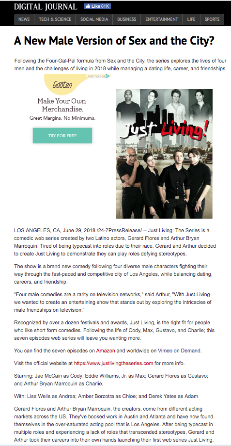 """Just Living"" Press Release. Show  Co-Created by Gerard Flores"